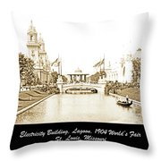 1904 World's Fair Lagoon And Electricity Building Throw Pillow