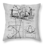 1905 Horse Blanket Patent Print Gray Throw Pillow