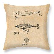 1909 Lockhart Antique Fishing Lure Antique Paper Patent Print Throw Pillow