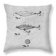 1909 Lockhart Antique Fishing Lure Gray Patent Print Throw Pillow