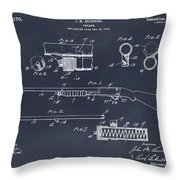 1913 Remington Model 17 Pump Shotgun Blackboard Patent Print Throw Pillow