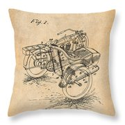 1913 Side Car Attachment For Motorcycle Antique Paper Patent Print Throw Pillow