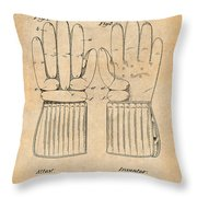 1914 Hockey Gloves Antique Paper Patent Print Throw Pillow