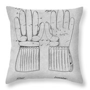 1914 Hockey Gloves Gray Patent Print Throw Pillow