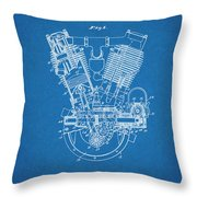 1914 Spacke V Twin Motorcycle Engine Blueprint Patent Print Throw Pillow