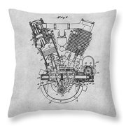 1914 Spacke V Twin Motorcycle Engine Gray Patent Print Throw Pillow