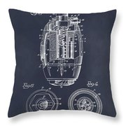 1917 Hand Grenade Blackboard Patent Print Throw Pillow