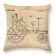 1919 Antique Tractor Antique Paper Patent Print Throw Pillow