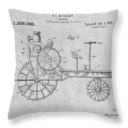 1919 Antique Tractor Gray Patent Print Throw Pillow