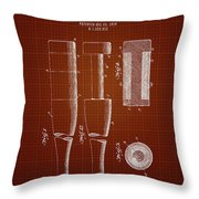 1919 Baseball Bat - Dark Red Blueprint Throw Pillow