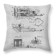 1919 Motor Driven Hair Clipper Gray Patent Print Throw Pillow