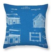 1920 Lincoln Logs Blueprint Patent Print Throw Pillow
