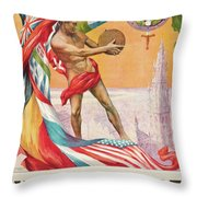 1920 Summer Olympics Vintage Poster Throw Pillow