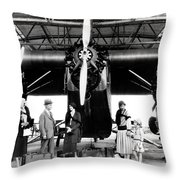1920s 1930s Group Of Passengers Waiting Throw Pillow