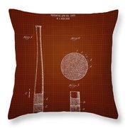 1923 Baseball Bat - Dark Red Blueprint Throw Pillow