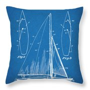 1927 Herreshoff Sail Boat Patent Print Blueprint Throw Pillow