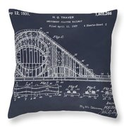 1927 Roller Coaster Blackboard Patent Print Throw Pillow