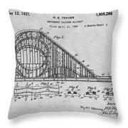 1927 Roller Coaster Gray Patent Print Throw Pillow