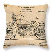 1928 Harley Davidson Motorcycle Antique Paper Patent Print Throw Pillow