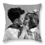 1930s Two Children Young Boy And Girl Throw Pillow
