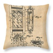1931 Self Winding Watch Patent Print Antique Paper Throw Pillow