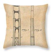 1932 San Francisco Golden Gate Bridge Antique Paper Patent Print Throw Pillow