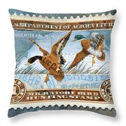 1934 Hunting Stamp Collage Throw Pillow by Clint Hansen