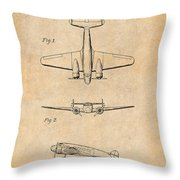 1934 Lockheed Model 10 Electra Airliner Patent Antique Paper Throw Pillow