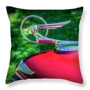 1934 Pontiac Softail Hood Ornament Throw Pillow