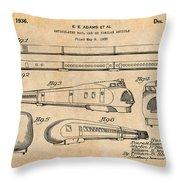 1935 Union Pacific M-10000 Railroad Antique Paper Patent Print Throw Pillow