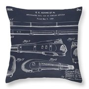 1935 Union Pacific M-10000 Railroad Blackboard Patent Print Throw Pillow