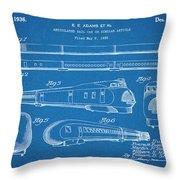 1935 Union Pacific M-10000 Railroad Blueprint Patent Print Throw Pillow