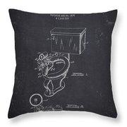 1936 Toilet Bowl - Dark Charcoal Grunge Throw Pillow