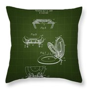 1936 Toilet Seat - Dark Green Blueprint Throw Pillow