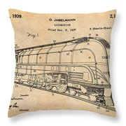 1937 Jabelmann Locomotive Antique Paper Patent Print Throw Pillow