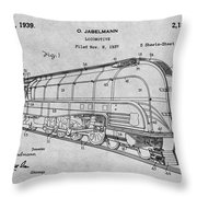 1937 Jabelmann Locomotive Gray Patent Print Throw Pillow