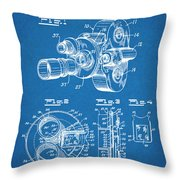 1938 Bell And Howell Movie Camera Patent Print Blueprint Throw Pillow