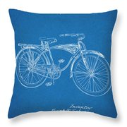 1939 Schwinn Bicycle Blueprint Patent Print Throw Pillow