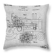 1942 John Deere Tractor Gray Patent Print Throw Pillow