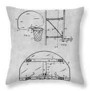 1944 Basketball Goal Gray Patent Print Throw Pillow