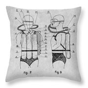 1947 Jacques Cousteau Diving Suit Patent Print Gray Throw Pillow