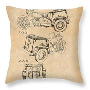 1952 3 Three Wheel Motorcycle Antique Paper Patent Print Throw Pillow