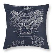 1954 Chrysler 426 Hemi V8 Engine Blackboard Patent Print Throw Pillow