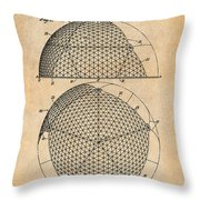 1954 Geodesic Dome Antique Paper Patent Print Throw Pillow