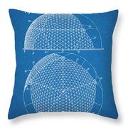 1954 Geodesic Dome Blueprint Patent Print Throw Pillow