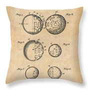 1954 Wiffle Ball Patent Print Antique Paper Throw Pillow