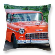 1955 Chevrolet Bel Air Nomad Throw Pillow