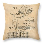 1960 Bombardier Snowmobile Antique Paper Patent Print Throw Pillow