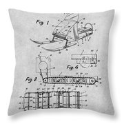 1960 Bombardier Snowmobile Gray Patent Print Throw Pillow