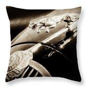 1964 Jaguar Mk2 Saloon Hood Ornament And Emblem-1421bscl Throw Pillow